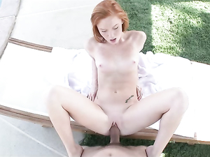 Freckled Redheaded Cutie Covered In A Big Cumshot