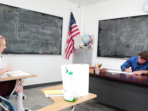 Schoolgirl On His Desk Takes A Teacher Creampie