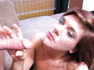Cocksucker Gets The Facial She Craves So Badly