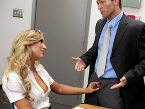 Hottest Blonde Student In School Makes The Teacher Cum