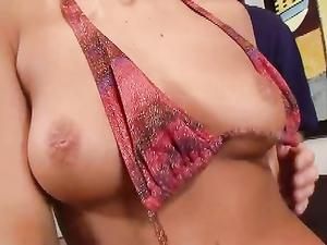 Tanned Bikini Girl Strips So He Can Fuck Her Cunt