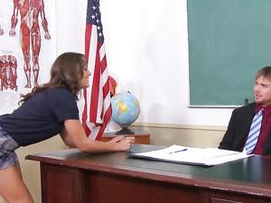 Schoolgirl And The Sexy Teacher Fucking In Class
