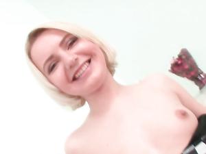 Pussy Lips Stretch Around A Huge Dildo