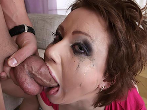 Dirty Dick Sucking Whore Gags On His Big Cock