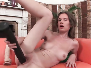 Slut Sucking Big Dildos And Fucking Her Pussy