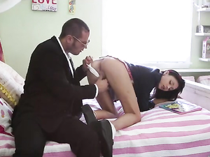 Schoolgirl Sucks A Lollipop And A Big Cock Like A Slut
