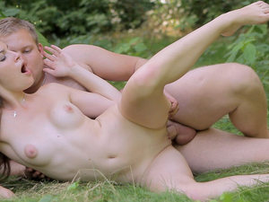 Teen Cock Riding In The Green Forest