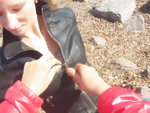 Sexy Public BJ From A Blonde In A Leather Jacket